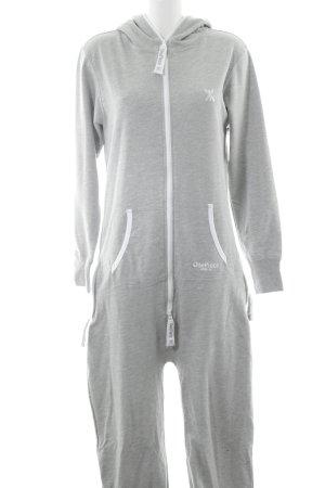 Onepiece Jumpsuit hellgrau-weiß sportlicher Stil
