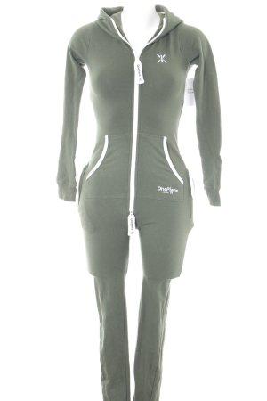 Onepiece Jumpsuit khaki-weiß sportlicher Stil
