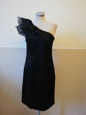 Oneshoulder Satin Kleid + Taft gerüscht schwarz Gr. UK 10 EUR 38 S M D 36 neu
