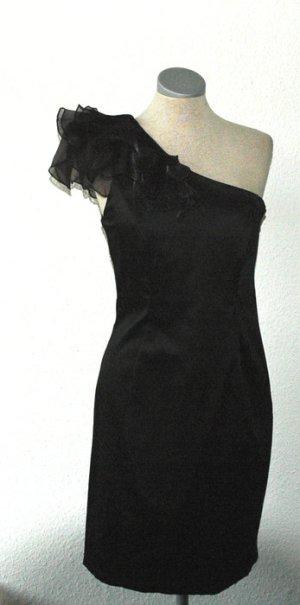 Oneshoulder Satin Kleid + Taft schwarz UK 10 38 S M neu  schönes oneshoulder S