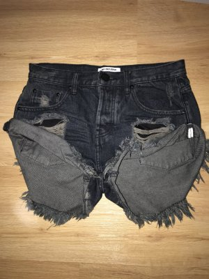 One x Oneteaspoon Short en jean gris anthracite