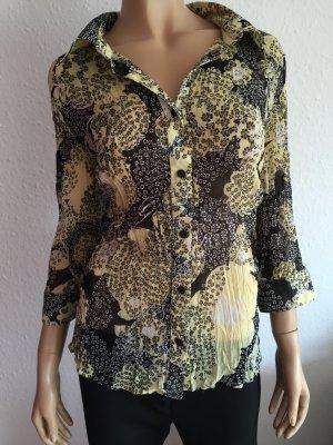 OneTouch Bluse Gr.42 Knit Wear Blumenmuster schwarz gelbe 3/4 Arm dreiviertelarm