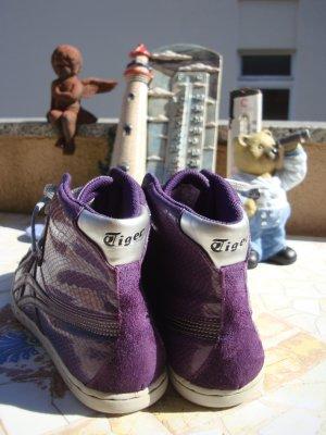 ONITSUKA TIGER WAHNSINNS-SNEAKER BOOTS STIEFELETTEN SKATER ECHTLEDER&LACKLEDERELEMENTE NP 99,95€ 36/36,5/37 violet lila purpur graulila silber lack Phython-Look Schlangenprägung Strukturprägung RETRO VINTAGE Sneaker Schuhe absolut neuwertig 1xanprobiert