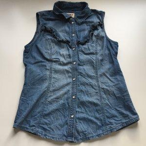ONLY ärmellose Jeansbluse mit Volants, Weste, Bluse Jeansweste, Gr.: S/36