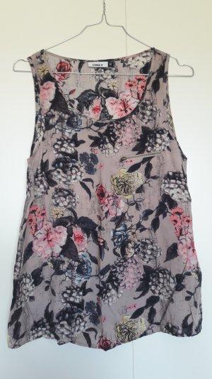 ONLY ärmelloses Blusenshirt geblümt taupe schwarz pink Gr. 36
