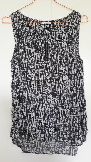 ONLY ärmelloses Blusenshirt schwarz weiß gemustert Gr. 36