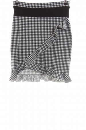 Only Asymmetry Skirt black-white check pattern casual look