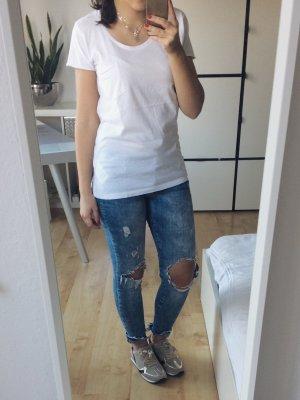 ONLY Basic T-Shirt Blogger weiß creme Tasche Gr. XS