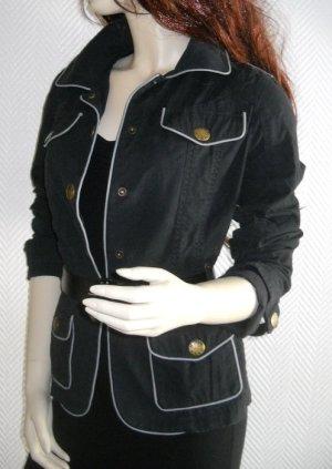 ONLY Blazer Jacke schwarz m abgesetzter hellgrauer Pastel Gürtel XS S M 34 36 38