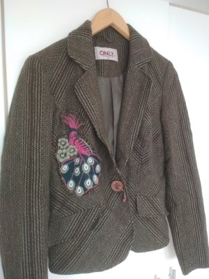 Only Wool Blazer dark green-brown mixture fibre