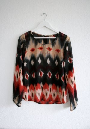 ONLY Bluse langärmlig, tribal/aztec gemustert