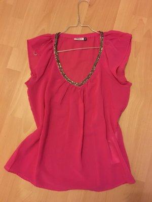 Only Bluse pink Shirt Glitzer Pailetten Strass 36 S kurzärmlig