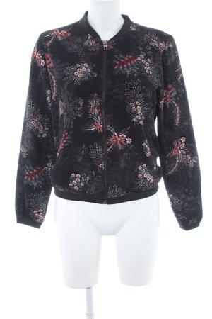 Only Blusenjacke schwarz-karminrot florales Muster Casual-Look