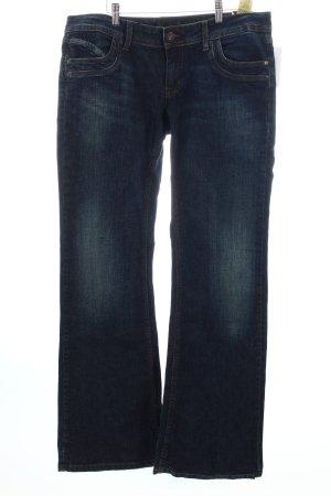 Only Boot Cut Jeans dunkelblau Used-Optik