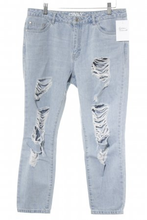 Only Boyfriendjeans himmelblau Destroy-Optik