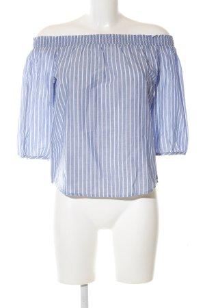 Only Blusa alla Carmen blu-bianco motivo a righe stile casual