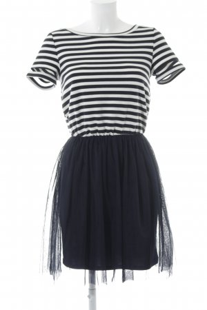 Only Chiffon Dress dark blue-white striped pattern casual look