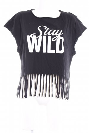 Only Cropped shirt wolwit-zwart gedrukte letters casual uitstraling