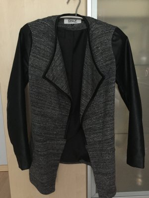 Only Damen Jacke grau anthrazit schwarz mit Lederoptik Gr 36 S wie Neu