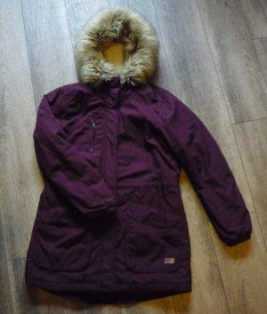 ONLY Damen Mantel London Cotton Coat Winterjacke mit Fellkragen bordeaux Gr. L