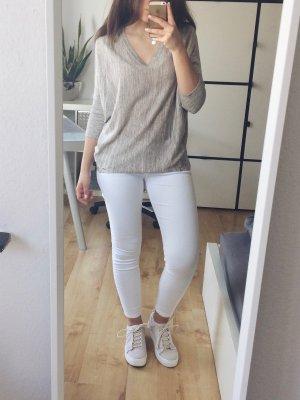 ONLY Damen Pullover Gr. S beige braun meliert V-Ausschnitt