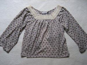 only Damenshirt/Bluse 3/4 Arm S Spitze+Natur+Geblümt entzückender Rücken NEU