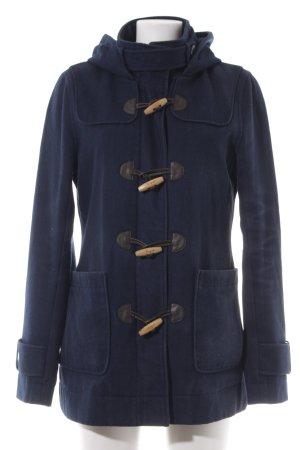 Only Duffle-coat bleu foncé motif à carreaux style décontracté