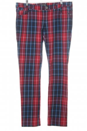 Only Pantalone cinque tasche blu scuro-rosso scuro motivo a quadri