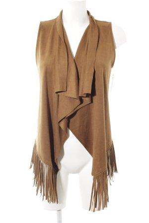 Only Fringed Vest light brown Boho look