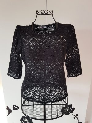Only Top en maille crochet noir
