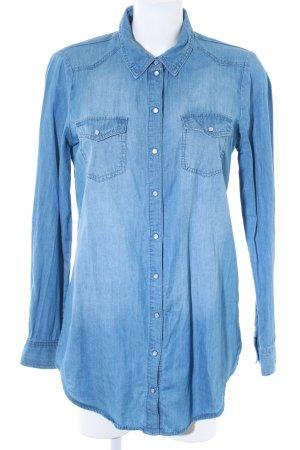 Only Hemd-Bluse himmelblau Bleached-Optik