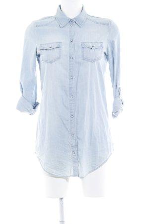 Only Hemd-Bluse himmelblau Jeans-Optik