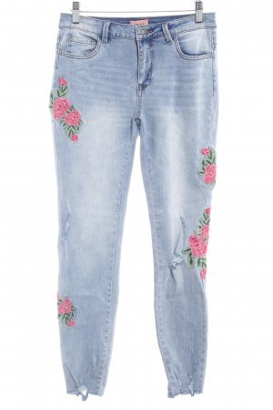 Only High Waist Jeans Blumenmuster Street-Fashion-Look