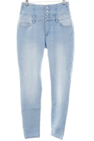Only High Waist Jeans himmelblau-wollweiß Used-Optik