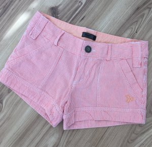 Only Hotpants Denim Streifen Shorts Maritim XS 34 Weiß Lachs Rot Nude kurze Hose Sommerhose