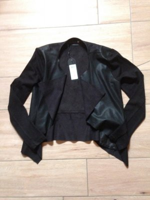 Only Jacke Wasserfallkragen mit Ledereinsätzen und Spitze Größe 36 schwarz