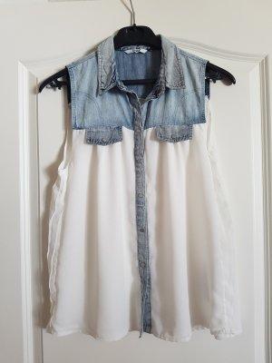 Only Blouse en jean blanc-bleu clair