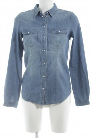 Only Jeansbluse blau-wollweiß Casual-Look