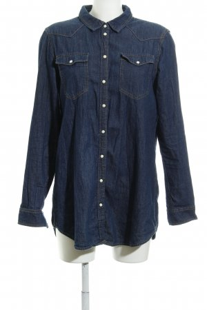 Only Camicia denim blu scuro stile casual
