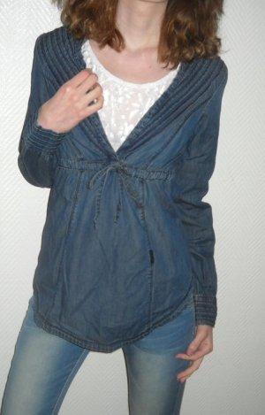 ONLY Jeanshemd Shirt Schnürung Hängerchen Tunika Bluse jeans Biesen 34 36 XS S