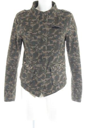 Only Jeansjacke olivgrün-khaki Camouflagemuster Military-Look