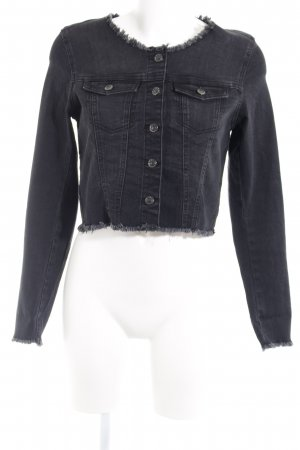 Only Jeansjacke schwarz-anthrazit Webmuster Casual-Look