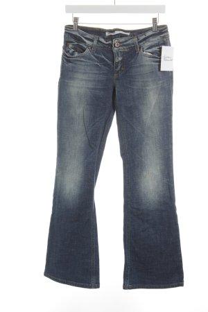Only Jeansschlaghose blau Logo-Applikation aus Leder