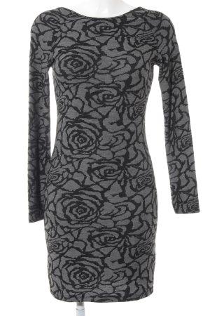 Only Abito jersey nero-grigio motivo floreale stile casual
