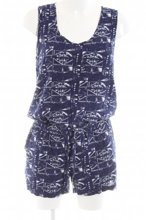 Only Jumpsuit blau-weiß abstraktes Muster Casual-Look