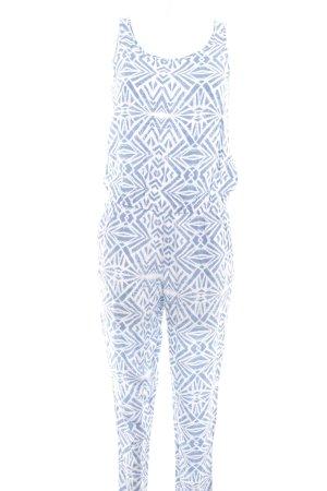 Only Jumpsuit weiß-kornblumenblau abstrakter Druck Casual-Look
