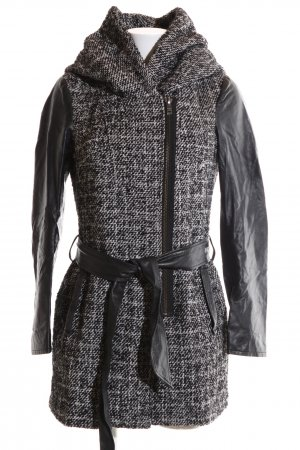 Only Hooded Coat black-light grey weave pattern business style