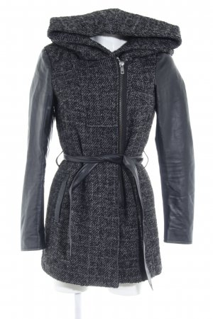 Only Hooded Coat grey-black weave pattern casual look