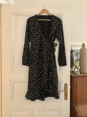 ONLY Kleid dress Wickelkleid Sommerkleid dots schwarz M L 38 40