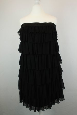 Only Kleid Volantkleid Chiffonkleid Minikleid Gr. M schwarz Bandeau